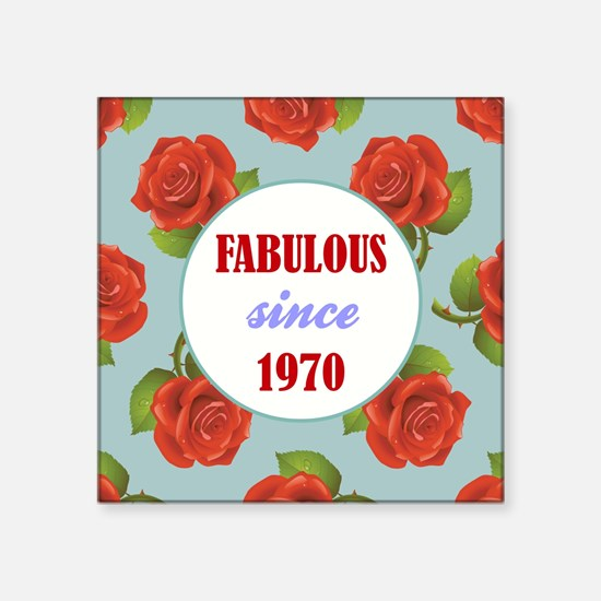 "1970 (ROSES) Square Sticker 3"" x 3"""