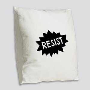 Resist Burlap Throw Pillow
