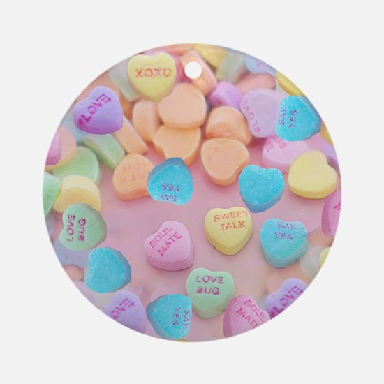 Cute Candy hearts Round Ornament