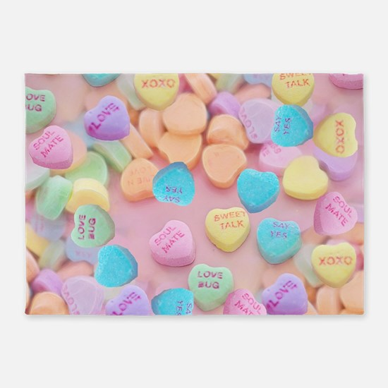 valentines candy hearts 5'x7'Area Rug