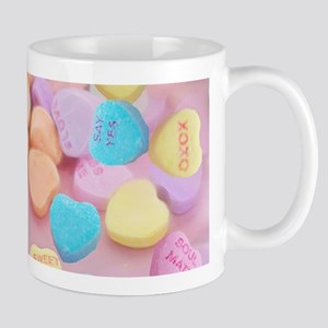 valentines candy hearts Mugs