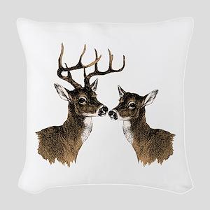 Buck and Doe Woven Throw Pillow