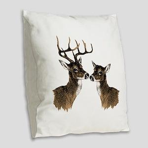 Buck and Doe Burlap Throw Pillow