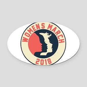 women march 2018 Oval Car Magnet