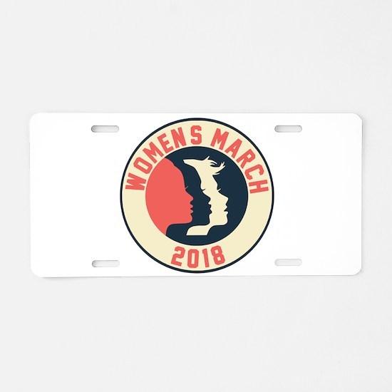 women march 2018 Aluminum License Plate