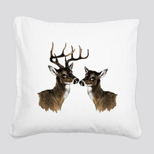 Buck and Doe Square Canvas Pillow