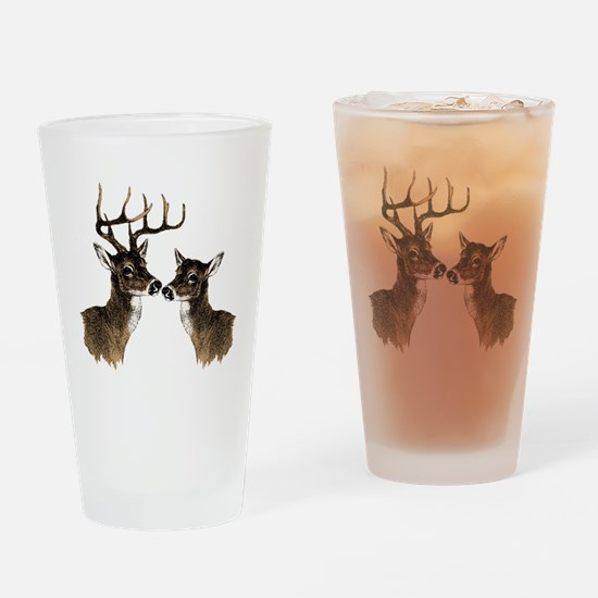 Buck and Doe Drinking Glass