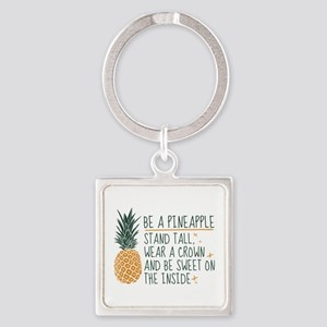 Be A Pineapple Square Keychain