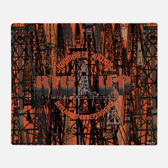 RIG UP CAMO W/ OR. LOGO Throw Blanket