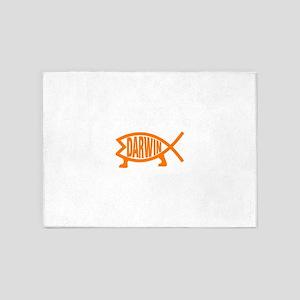 Original Darwin Fish (Light Orange) 5'x7'Area Rug