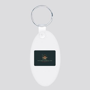 Big Kahuna with Figure Aluminum Oval Keychain