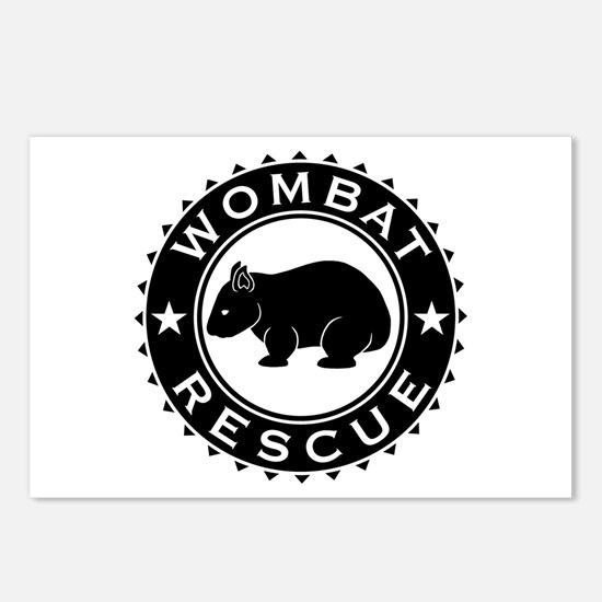 Wombat Rescue B&W Crest Postcards (Package of 8)