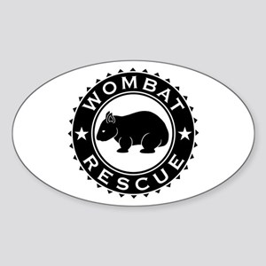 Wombat Rescue B&W Crest Sticker (Oval)