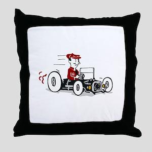 Hot Rod Cartoon Design Throw Pillow