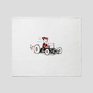 Hot Rod Cartoon Design Throw Blanket