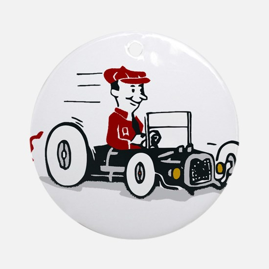 Hot Rod Cartoon Design Round Ornament