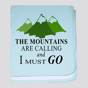 The Mountains are Calling baby blanket