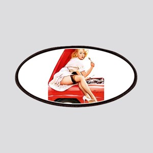 Vintage Pin Up Girl Mechanic with Red Truck Patch