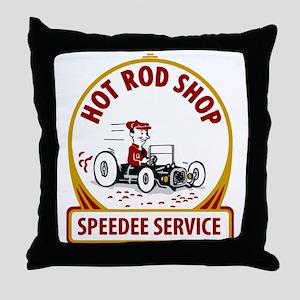 Hot Rod Shop Throw Pillow
