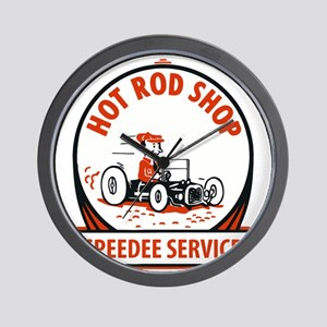 Hot Rod Shop Cartoon Wall Clock