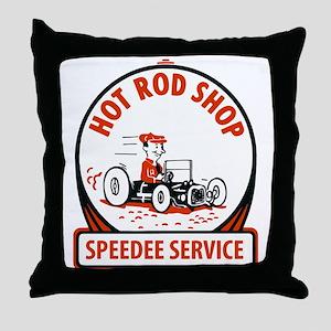 Hot Rod Shop Cartoon Throw Pillow