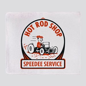 Hot Rod Shop Cartoon Throw Blanket