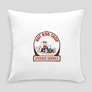 Hot Rod Shop Cartoon Everyday Pillow