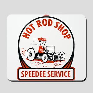 Hot Rod Shop Cartoon Mousepad