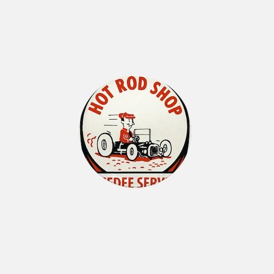 Hot Rod Shop Cartoon Mini Button