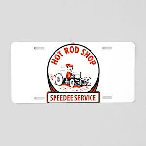 Hot Rod Shop Cartoon Aluminum License Plate