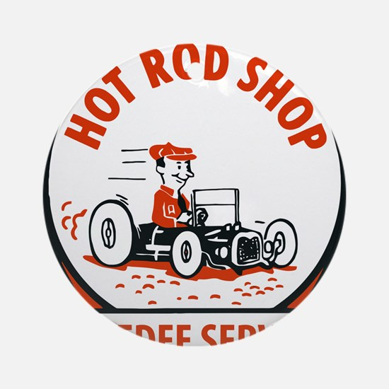 Hot Rod Shop Cartoon Round Ornament