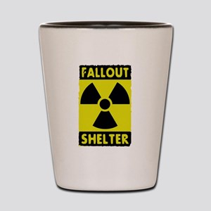 fall out shelter sign Shot Glass