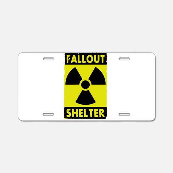fall out shelter sign Aluminum License Plate