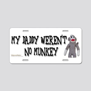 Evolution Sock Monkey, mug Aluminum License Plate