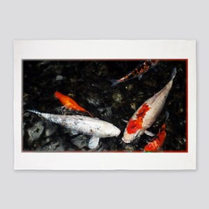 White and Orange Koi 5'x7'Area Rug