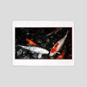 White and Orange Koi 5'x7'Area Rug