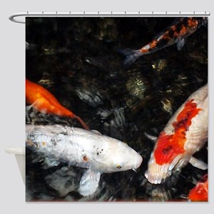 White and Orange Koi Shower Curtain