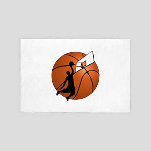 Slam Dunk Basketball Player w/Hoop on 4' x 6' Rug