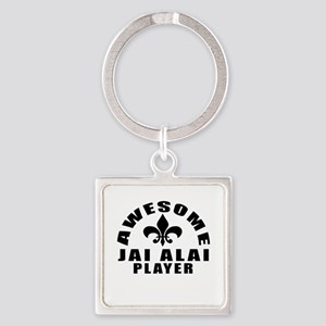 Awesome Jai Alai Player Designs Square Keychain