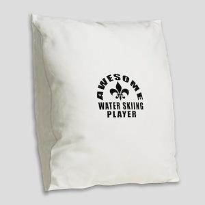 Awesome Water Skiing Player De Burlap Throw Pillow