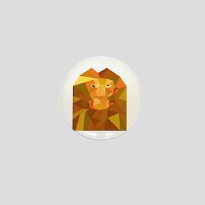 Lion Head Front Low Polygon Mini Button