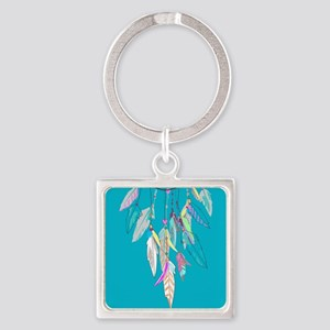 Dreamcatcher Feathers Square Keychain