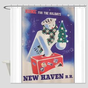 New Haven, Snowman, Vintage Travel Shower Curtain