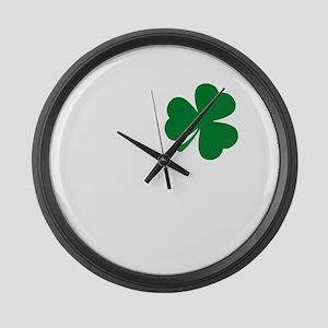 St Patrick's Day LOVE Shamrock Ir Large Wall Clock