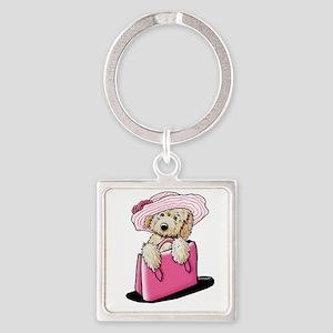 Girlie Doodle Square Keychain