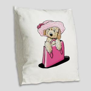 Girlie Doodle Burlap Throw Pillow