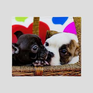 English Bulldog and French Bulldog K Throw Blanket