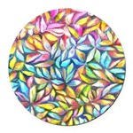 Pastel Leaves 1 Round Car Magnet