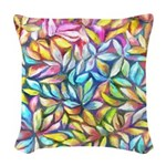 Pastel Leaves 1 Woven Throw Pillow