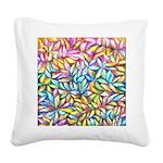 Pastel Leaves 1 Square Canvas Pillow